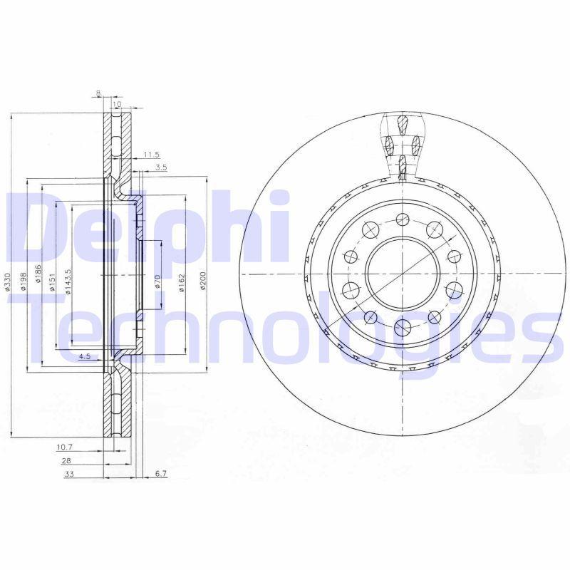 Comprare BG3993 DELPHI ventilato, Oleato, non trattato, senza anello sensore ABS, senza supporto Ø: 330mm, N° fori: 5, Spessore disco freno: 28mm Disco freno BG3993 poco costoso