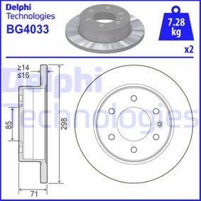 BG4033 DELPHI Cheio Ø: 298mm, N.º de furos: 6, Espessura do disco de travão: 16mm Disco de travão BG4033 comprar económica