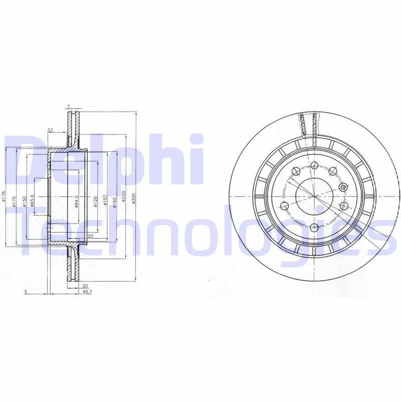BG4046 DELPHI belüftet, unbeschichtet, unbehandelt Ø: 300mm, Bremsscheibendicke: 20mm Bremsscheibe BG4046 günstig kaufen