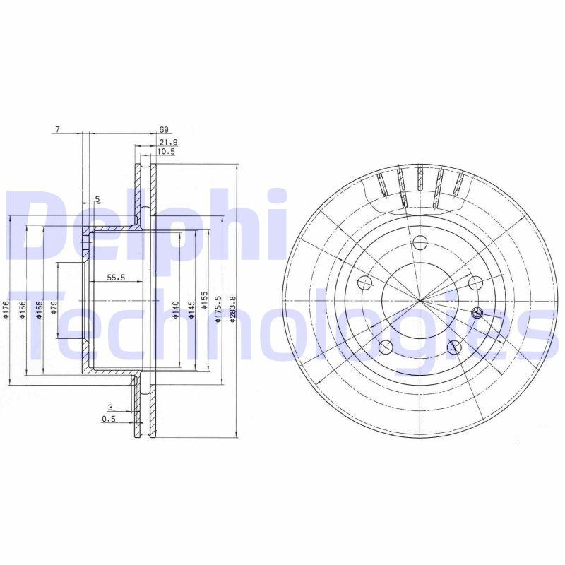 BG2212 DELPHI belüftet, unbeschichtet, unbehandelt Ø: 284mm, Bremsscheibendicke: 22mm Bremsscheibe BG2212 günstig kaufen