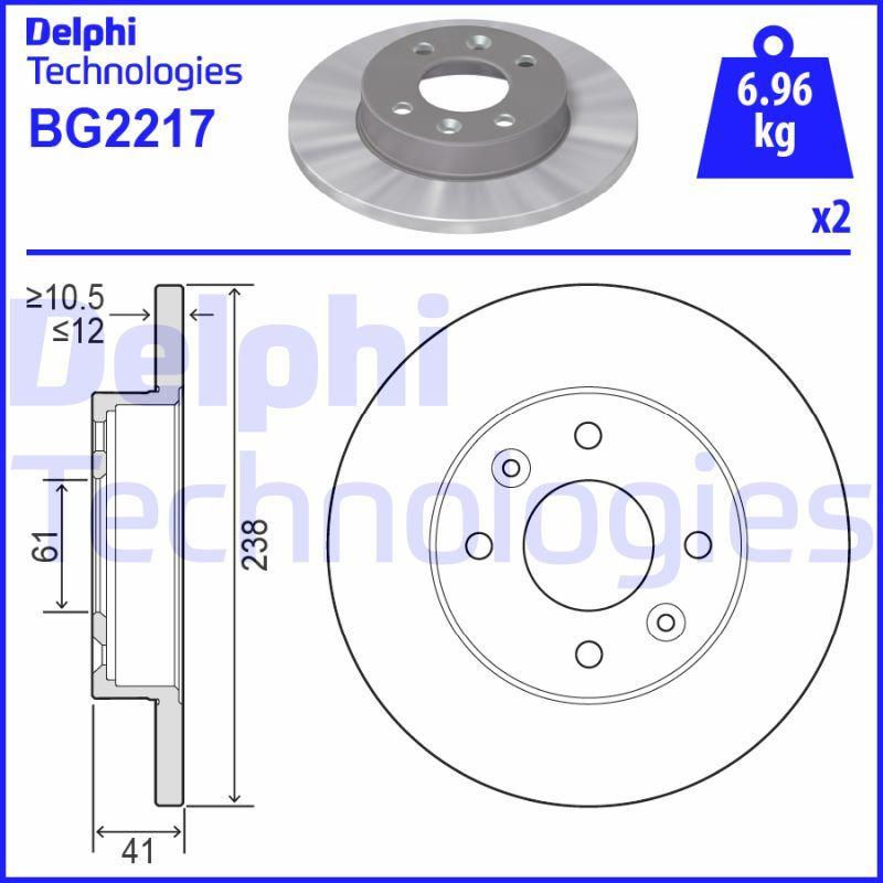 BG2217 Bremsscheibe DELPHI in Original Qualität
