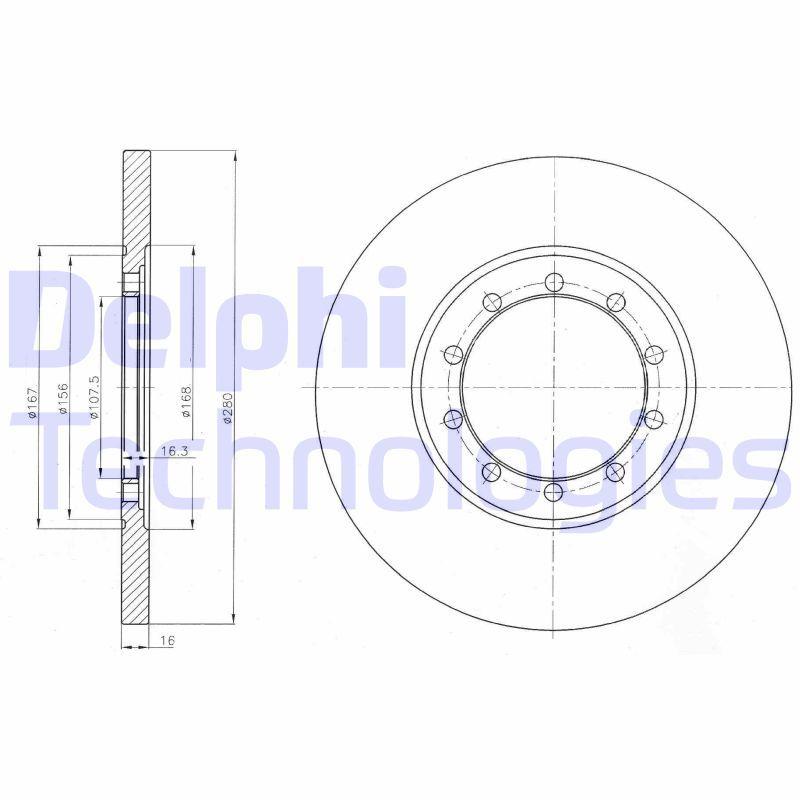 Купете BG4075 DELPHI плътен, без покритие, необработен Ø: 280мм, дебелина на спирачния диск: 16мм Спирачен диск BG4075 евтино