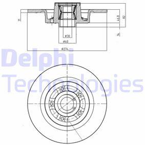 BG9026RS DELPHI Voll Ø: 274mm, Lochanzahl: 5, Bremsscheibendicke: 11mm Bremsscheibe BG9026RS günstig kaufen