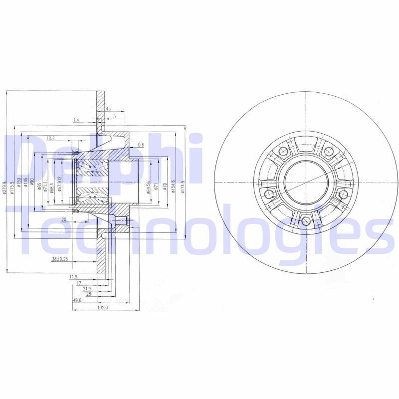Купете BG9031RS DELPHI плътен, необработен, с колесна главина Ø: 280мм, дебелина на спирачния диск: 12мм Спирачен диск BG9031RS евтино