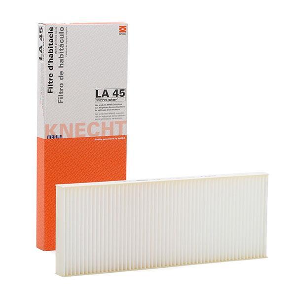AUDI 80 1991 Innenraumfilter - Original MAHLE ORIGINAL LA 45 Breite: 143,0, 146, 146,0mm, Höhe: 27mm, Länge: 386mm