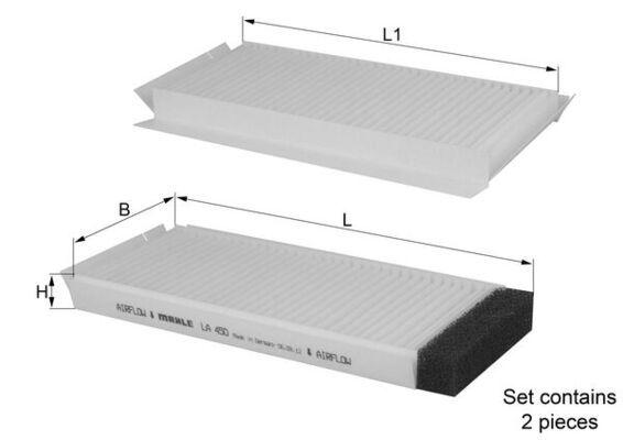 MAZDA DEMIO 1996 Innenraumluftfilter - Original MAHLE ORIGINAL LA 450/S Breite: 97, 97,0mm, Höhe: 20mm, Länge: 227mm