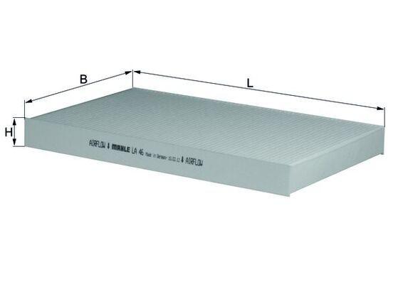 AUDI 100 1990 Kabinenluftfilter - Original MAHLE ORIGINAL LA 46 Breite: 192, 192,0, 193,0mm, Höhe: 30mm, Länge: 306mm