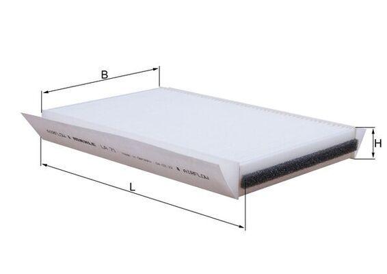 MAHLE ORIGINAL Filtr, wentylacja przestrzeni pasażerskiej do DAF - numer produktu: LA 71