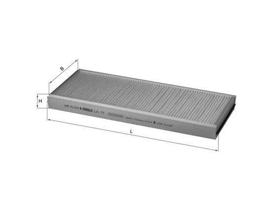 Купете LAK77 MAHLE ORIGINAL филтър за груби частици ширина: 148,0, 149, 149,0мм, височина: 30мм, дължина: 350мм Филтър, въздух за вътрешно пространство LA 77 евтино