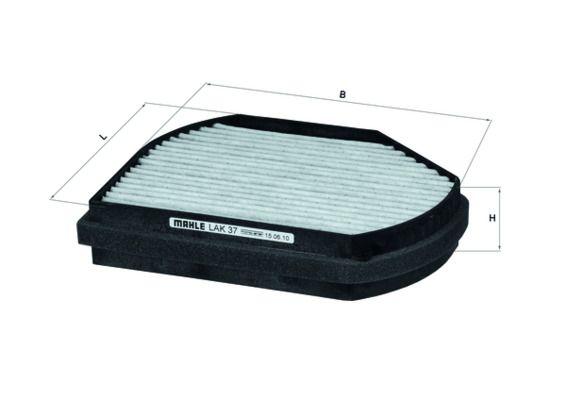 MAHLE ORIGINAL: Original Klimaanlage LAK 37 (Breite: 260,5, 263, 263,0mm, Höhe: 54mm, Länge: 205mm)
