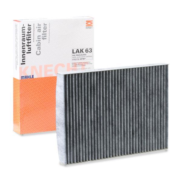 Купете LAO63 MAHLE ORIGINAL филтър с активен въглен ширина: 206,0, 206,5, 207мм, височина: 30мм, дължина: 283мм Филтър, въздух за вътрешно пространство LAK 63 евтино