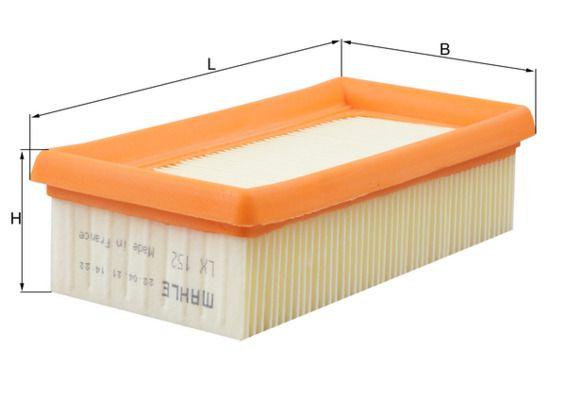 MAHLE ORIGINAL: Original Luftfilter LX 152 (Länge über Alles: 176,0mm, Länge: 176,0mm, Breite: 90mm, Breite 1: 89,5mm, Höhe: 47mm, Höhe 1: 47mm)