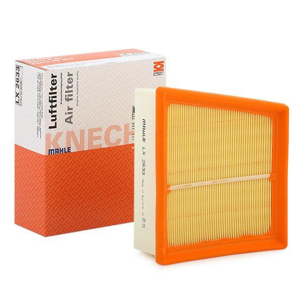 70386381 MAHLE ORIGINAL Filtereinsatz Länge über Alles: 161,0mm, Länge: 161,0mm, Breite: 196mm, Breite 1: 196,1mm, Höhe: 63mm, Höhe 1: 63mm Luftfilter LX 2633 günstig kaufen