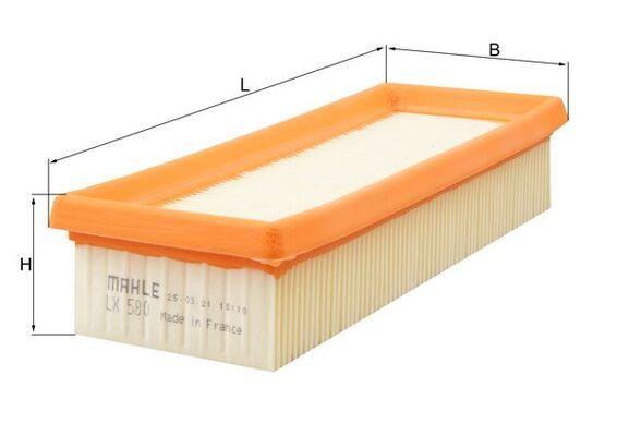 Zracni filter LX 580 z izjemnim razmerjem med MAHLE ORIGINAL ceno in zmogljivostjo