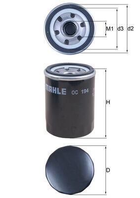 Kia K2500 MAHLE ORIGINAL Filtro de aceite para motor OC 194