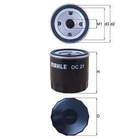 Pirkt 79930942 MAHLE ORIGINAL Uzskrūvējams filtrs Iekšējais diametrs 2: 62,0mm, Ø: 76,0mm, Augstums: 80,0mm Eļļas filtrs OC 21 lēti
