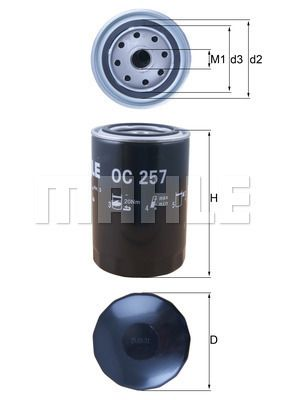 OC257 Filtro Olio MAHLE ORIGINAL OC 257 - Prezzo ridotto