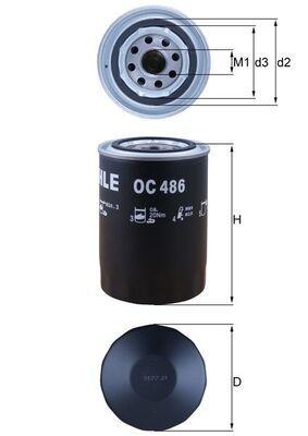 MAHLE ORIGINAL: Original Ölfilter OC 486 (Innendurchmesser 2: 62mm, Innendurchmesser 2: 62mm, Ø: 93,2mm, Außendurchmesser 2: 72mm, Ø: 93,2mm, Höhe: 141mm)