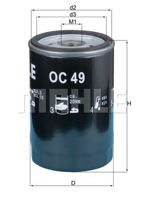 OC 49 Ölfilter MAHLE ORIGINAL Test