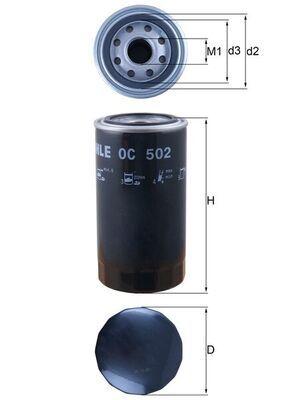 Iegādāties MAHLE ORIGINAL Eļļas filtrs OC 502 DAF automašīnām par saprātīgu cenu