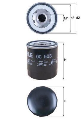 76832265 MAHLE ORIGINAL Screw-on Filter Ø: 75,8mm, Ø: 75,8mm, Height: 89, 99mm Oil Filter OC 503 cheap