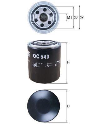 Kia K2500 MAHLE ORIGINAL Filtro de aceite motor OC 540