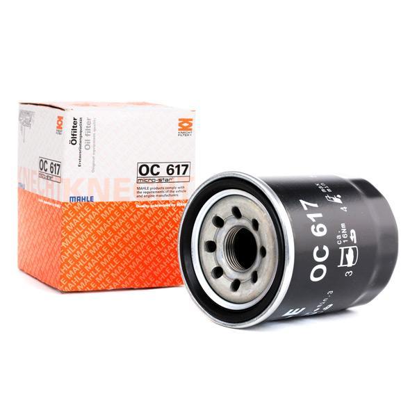 70384191 MAHLE ORIGINAL Screw-on Filter Inner Diameter 2: 52,4mm, Outer diameter 2: 62,6mm, Ø: 65,5mm, Height: 86,5mm Oil Filter OC 617 cheap