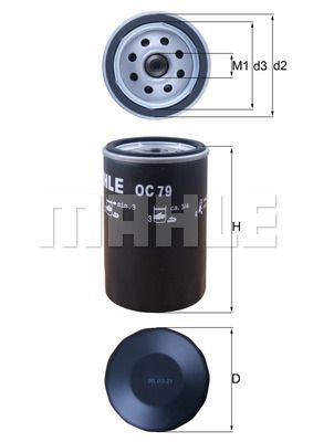Opel ADMIRAL 1972 Oil filter MAHLE ORIGINAL OC 79: Screw-on Filter