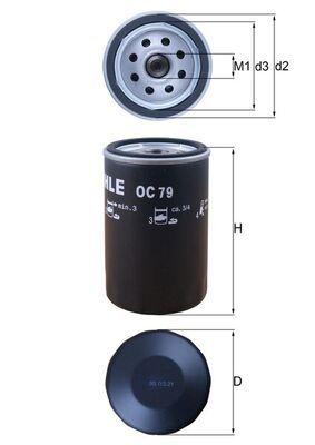 Achetez Filtre à huile MAHLE ORIGINAL OC 79 (Diamètre intérieur 2: 62mm, Diamètre intérieur 2: 62mm, Ø: 76,0mm, Diamètre extérieur 2: 72mm, Ø: 76,0mm, Hauteur: 120mm) à un rapport qualité-prix exceptionnel