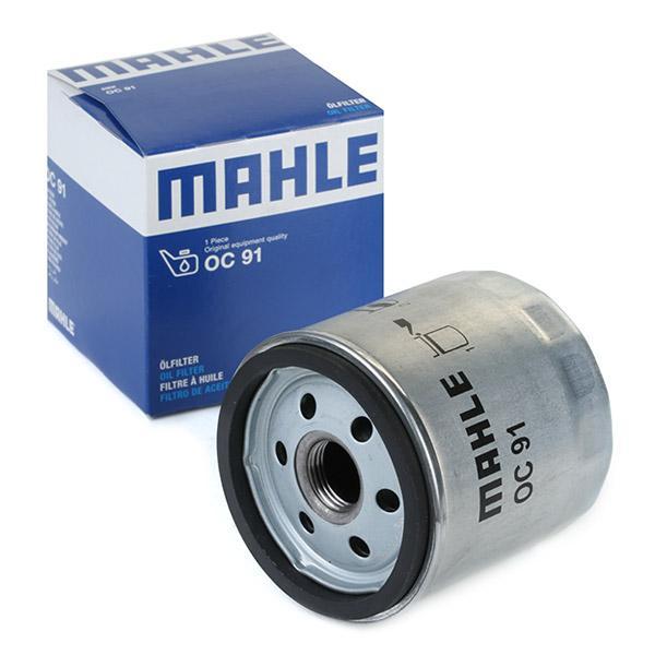 Moto MAHLE ORIGINAL Opschroeffilter Binnendiameter 2: 62mm, Buitendiameter 2: 72mm, Ø: 76,0mm, Hoogte: 82mm Oliefilter OC 91