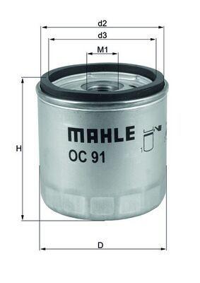 MAHLE ORIGINAL Oljefilter Skruvfilter OC 91D BMW