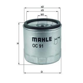 Moto MAHLE ORIGINAL Anschraubfilter Innendurchmesser 2: 62,0mm, Ø: 76,0mm, Höhe: 82,0mm Ölfilter OC 91D1 günstig kaufen