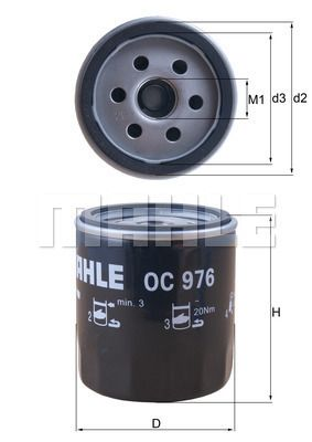 OC 976 Filtre à huile MAHLE ORIGINAL Test
