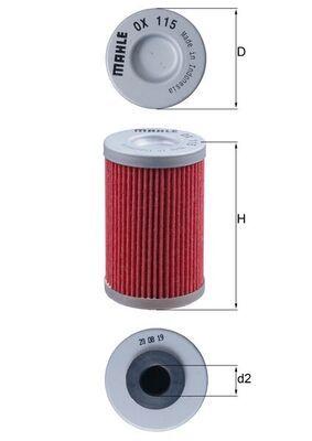 MAHLE ORIGINAL Oljefilter Filterinsats OX 115 KTM