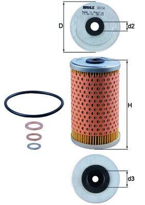 MAHLE ORIGINAL Filtro olio OX 34D