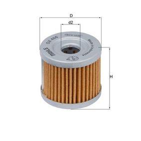 Moto MAHLE ORIGINAL Filtereinsatz Innendurchmesser 2: 13,4mm, Ø: 44,0mm, Höhe: 40,0mm Ölfilter OX 406 günstig kaufen