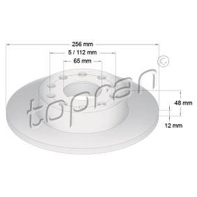 110 080 TOPRAN Hinterachse, Voll, beschichtet Ø: 256mm, Felge: 5-loch, Bremsscheibendicke: 12mm Bremsscheibe 110 080 günstig kaufen