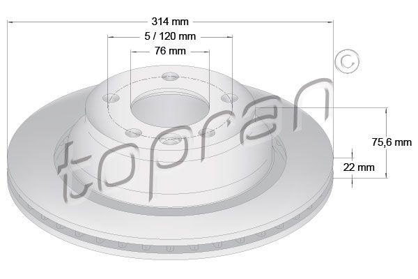 Volkswagen NEW BEETLE TOPRAN Disque de frein 110 430