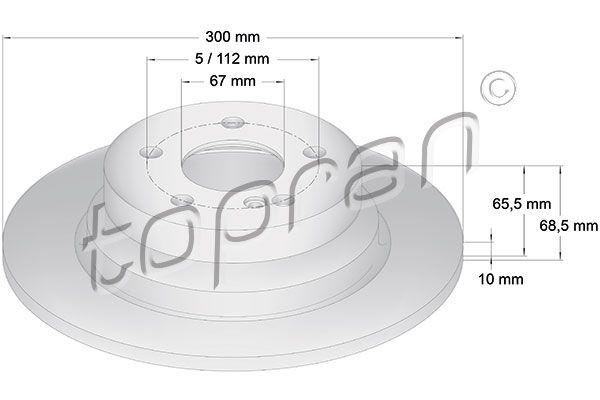 401 054 TOPRAN Hinterachse, Voll, beschichtet Ø: 300mm, Felge: 5-loch, Bremsscheibendicke: 10mm Bremsscheibe 401 054 günstig kaufen
