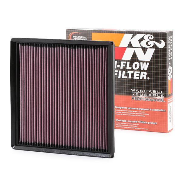 K&N Filters: Original Motorluftfilter 33-2966 (Länge: 267mm, Länge: 267mm, Breite: 261mm, Höhe: 32mm)
