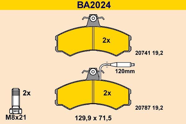Barum Bremsbelagsatz, Scheibenbremse BA2024