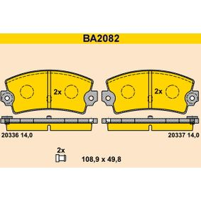 20337 Barum mit akustischer Verschleißwarnung Höhe: 49,8mm, Breite: 108,9mm, Dicke/Stärke: 14,0mm Bremsbelagsatz, Scheibenbremse BA2082 günstig kaufen