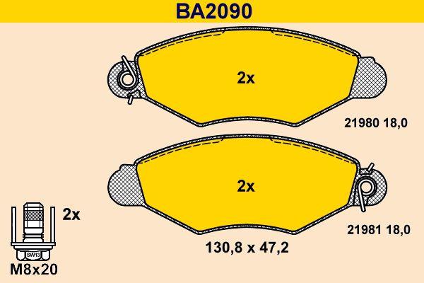 Bremsbelagsatz Scheibenbremse Barum BA2090