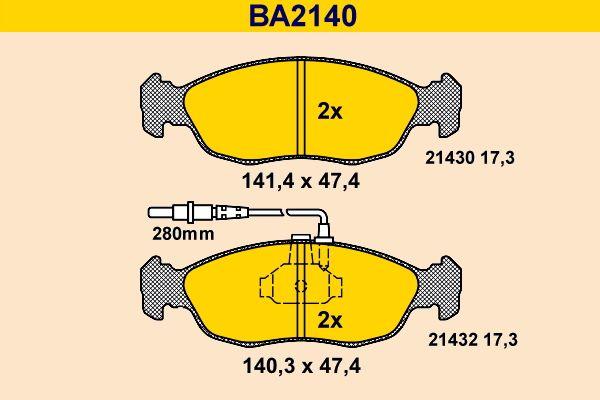 Barum Bremsbelagsatz, Scheibenbremse BA2140