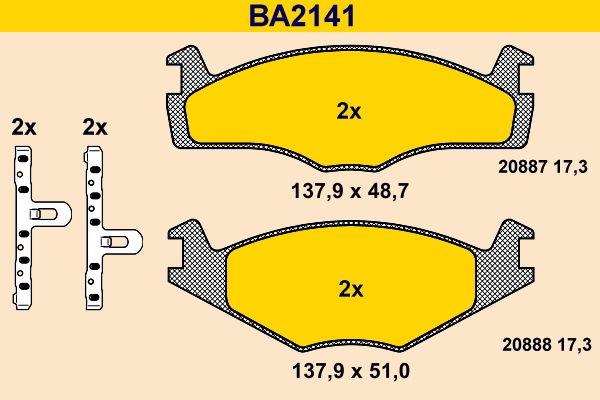 Barum Bremsbelagsatz, Scheibenbremse BA2141
