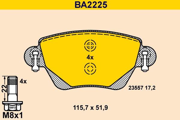 23557 Barum exkl. Verschleißwarnkontakt, nicht für Verschleißwarnanzeiger vorbereitet, mit Bremssattelschrauben Höhe: 51,9mm, Breite: 115,7mm, Dicke/Stärke: 17,2mm Bremsbelagsatz, Scheibenbremse BA2225 günstig kaufen