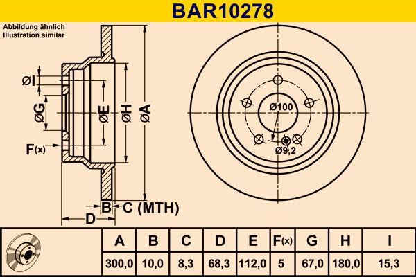 BAR10278 Barum Voll Ø: 300,0mm, Lochanzahl: 5, Bremsscheibendicke: 10,0mm Bremsscheibe BAR10278 günstig kaufen