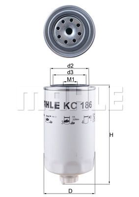 KC 186 MAHLE ORIGINAL Fuel filter for IVECO Tector - buy now