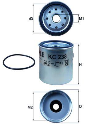 MAHLE ORIGINAL Горивен филтър KC 238D