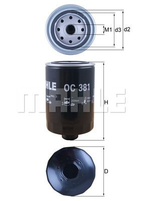 MAHLE ORIGINAL Filtr oleju do RENAULT TRUCKS - numer produktu: OC 381